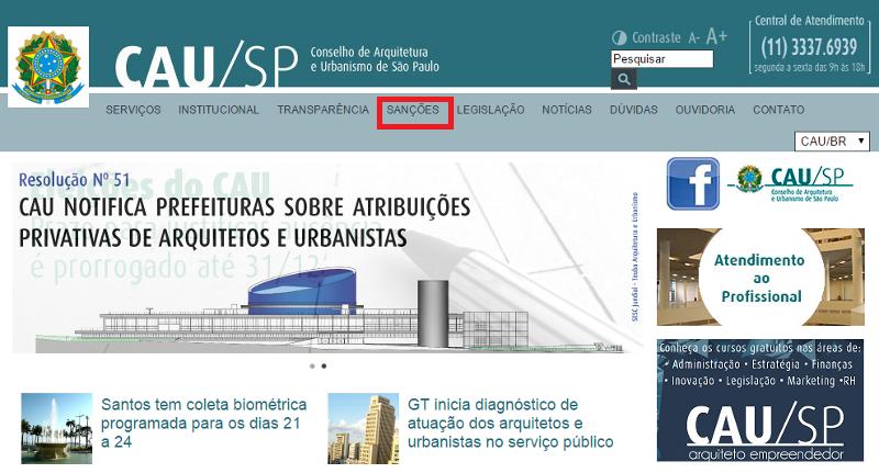 Captura de Tela - site CAU/SP