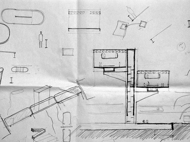 Croqui de projeto arquitetônico.