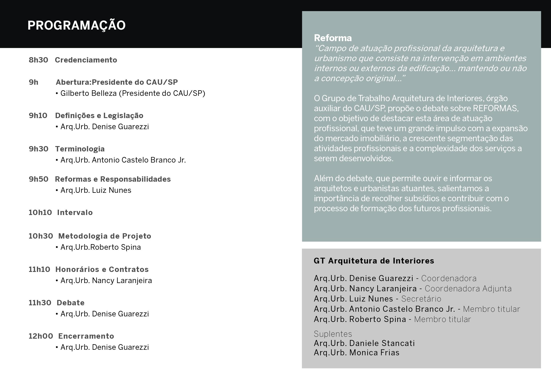 Seminario Do Gt Arquitetura De Interiores Debate Sobre Reformas Na Capital Paulista Cau Sp