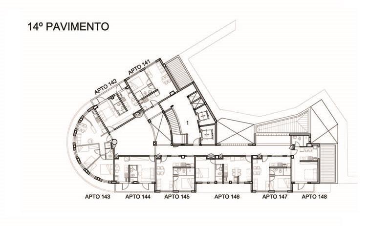Planta do 14º andar do projeto de requalificação do edifício Riachuelo.