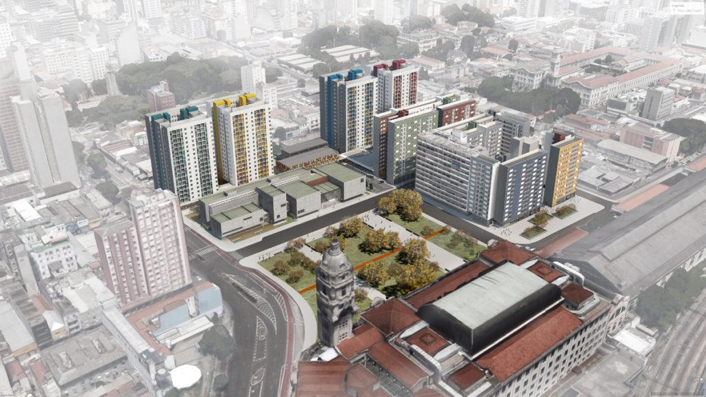 Renderização do projeto do Complexo Júlio Prestes